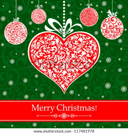 Vintage card with Christmas balls and heart. vector illustration - stock vector