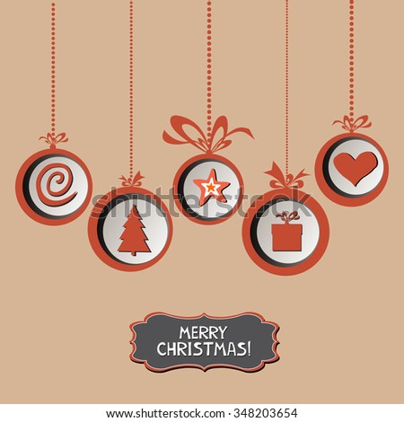 Vintage card with Christmas balls. vector illustration - stock vector