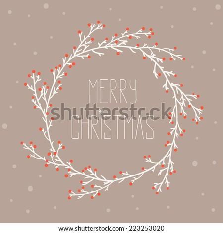 Vintage card with Christmas wreath vector illustration. Merry Christmas congratulations - stock vector