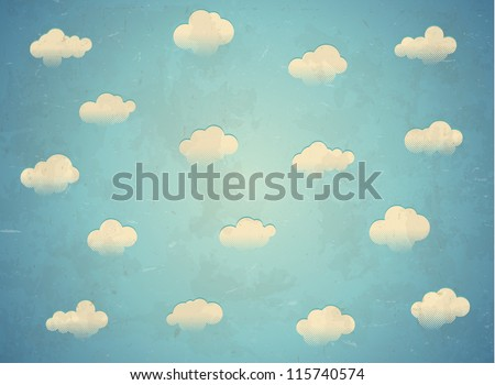 Vintage card with clouds - stock vector