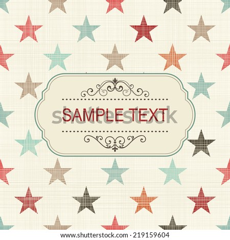 vintage card with colorful stars on retro seamless background  - stock vector