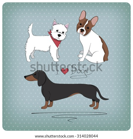 Vintage card with cute dogs - stock vector