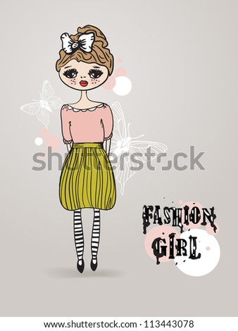 Vintage card with cute hand drawn  girl on pastel background - stock vector