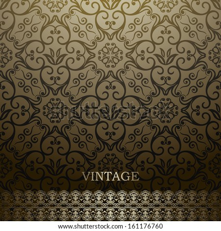 Vintage Card with damask background, luxury golden brown design  - stock vector