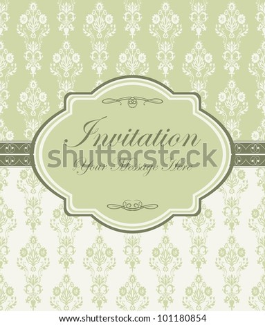 vintage card with damask wallpaper - stock vector