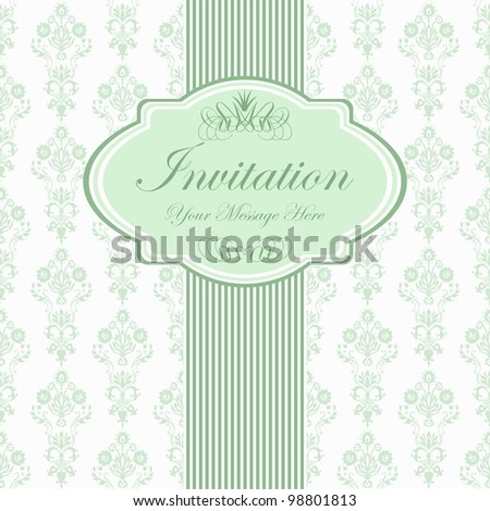 vintage card with damask wallpaper