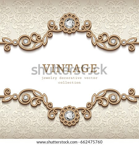 Vintage card with diamond jewelry decoration, gold flourish frame, elegant vignette, wedding invitation or announcement design, esp10 vector illustration