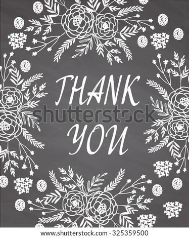Vintage card with floral wreath isolated on chalk board background. Wood background. Wedding, marriage, bridal, birthday, Valentine's day - stock vector
