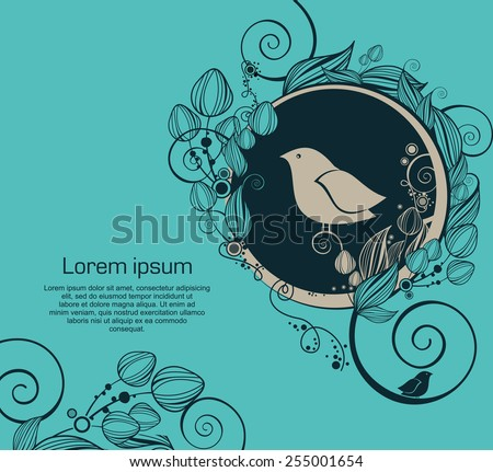 vintage card with flowers and bird - stock vector