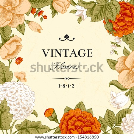 Vintage card with flowers. Garden roses, hydrangea and dog-rose flower on a beige background. Vector illustration. - stock vector