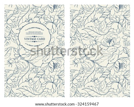 Vintage card with flowers on background. Book cover with chrysanthemums. Blue lines on white background. Vector illustration.