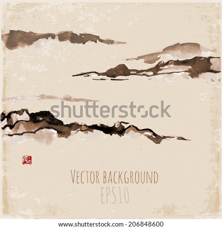 Vintage card with fog mountains, hand-drawn with ink in traditional Japanese style sumi-e.  - stock vector