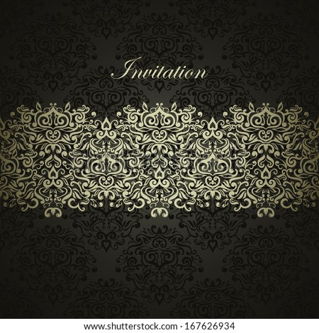 Vintage card with golden lace border on seamless damask pattern in black - stock vector