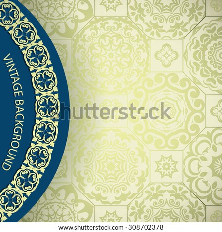 Vintage Card with golden seamless ornamental background  - stock vector