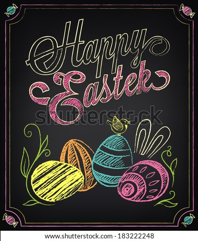 Vintage card with graphic elements for Easter. Chalking, freehand drawing - stock vector