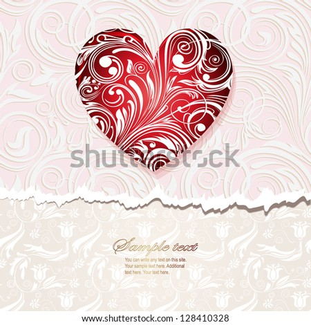 vintage card  with heart - stock vector