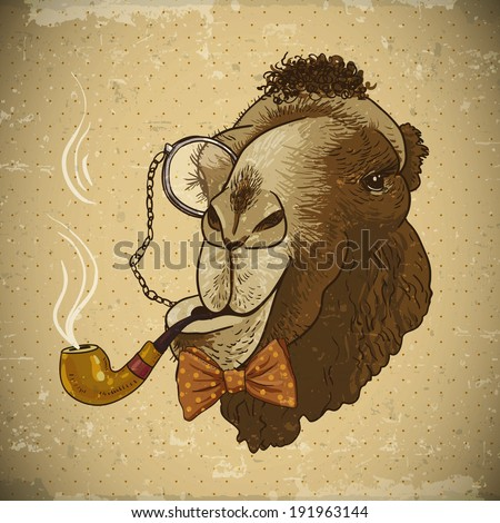 Vintage Card with Hipster Animal.  Camel with a pipe and a monocle - stock vector