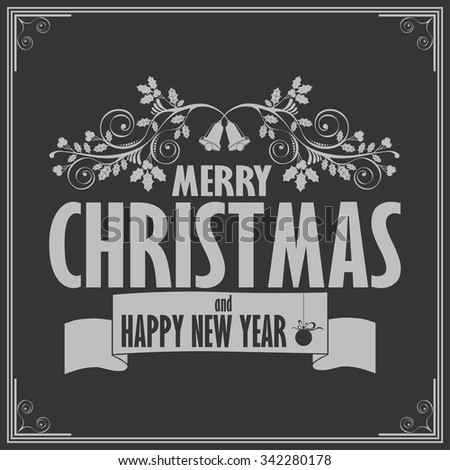 Vintage card with Merry Christmas. Calligraphic And Typographic. Retro color. - stock vector