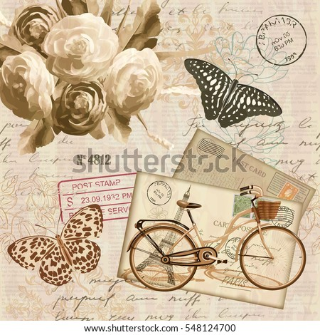 Vintage card with roses, butterfly, bicycle  and old envelope.