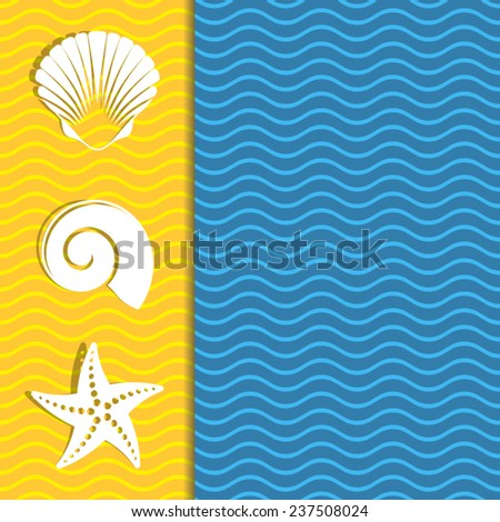 Vintage card with sea icons and wavy lines - stock vector
