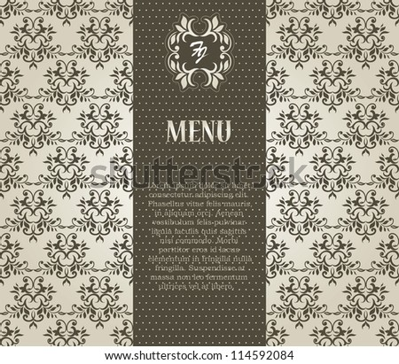 Vintage card with seamless damask wallpaper, Can be used as invitation, Menu etc - stock vector