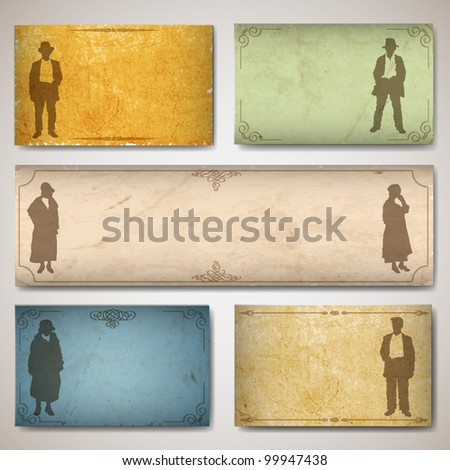 Vintage card with silhouettes old-fashioned women's and men. Vector texture old paper - stock vector