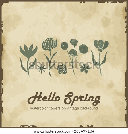 Vintage card with spring flowers - stock vector