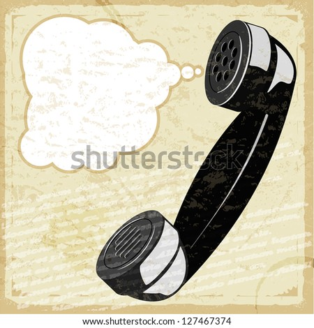 Vintage card with the image of the handset - stock vector