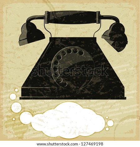 Vintage card with the image of the old telephone - stock vector