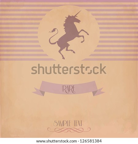 Vintage card with the unicorn . - stock vector