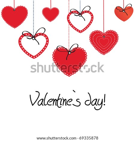 Vintage card with valentines hearts - stock vector