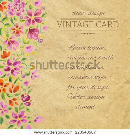 Vintage Card With Watercolor Flowers, Vector Illustration