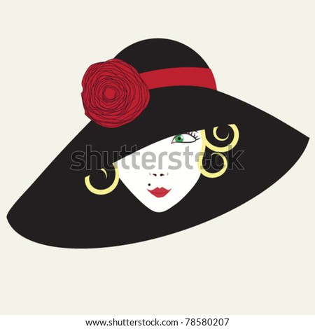 Vintage card with woman in a hat - stock vector