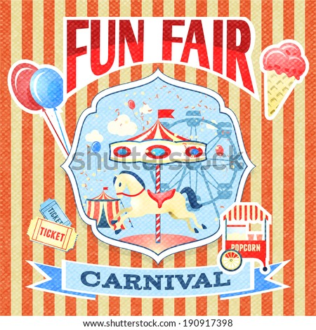 Vintage carnival fun fair theme park poster template vector illustration - stock vector