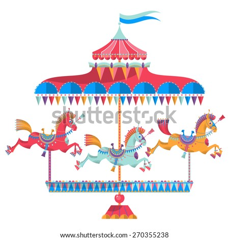 Vintage carousel with colorful horses on a white background. Vector illustration - stock vector