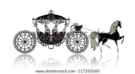 vintage carriage with horse - stock vector