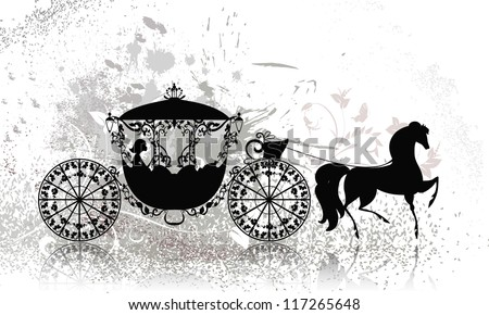 vintage carriage with horse grunge - stock vector