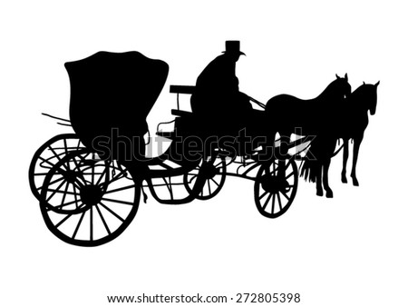 Vintage carriage with the coachman silhouette - stock vector