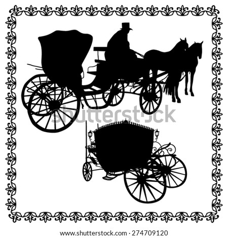 Vintage carriages silhouette - stock vector