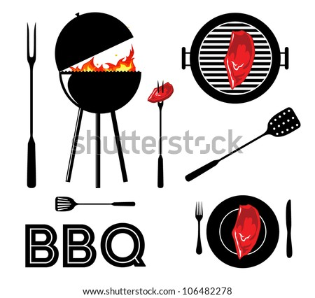 Vintage cartoon barbecue party tool set BBQ - stock vector