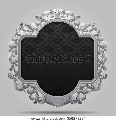 Vintage carved classic frame in black and white colors. Vector illustration - stock vector