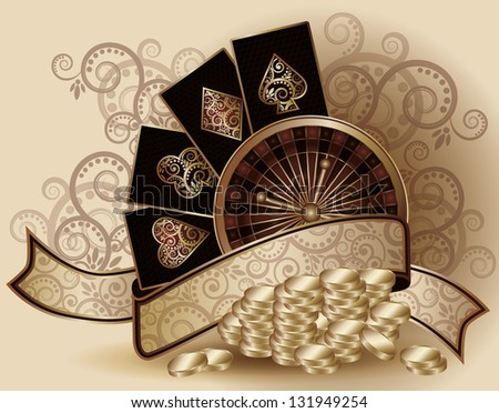 Vintage Casino background with poker elements , vector illustration - stock vector