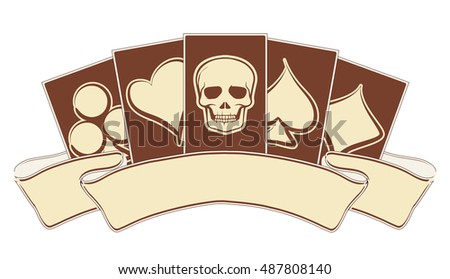 Vintage casino banner with poker elements, vector illustration