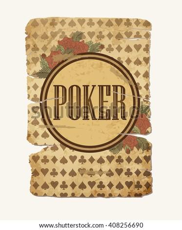 Vintage casino poker background, vector illustration - stock vector