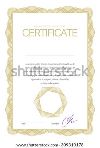 Vintage Certificate. Award background. Gift voucher. Template diplomas currency Vector illustration - stock vector