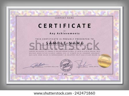 Vintage certificate template with spotted frame and calligraphic elements on purple dotted paper  in vector - stock vector
