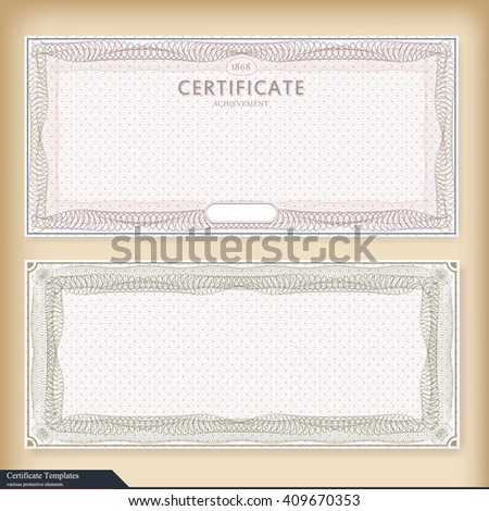 Vintage Certificate Template Watermark Ornate Gift Stock Photo