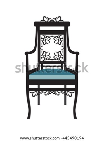 Vintage Chair Furniture Vector Rich Carved Ornaments Victorian Style
