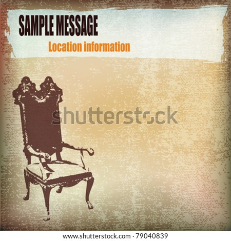 Vintage Chair Vector Parchment Background - stock vector