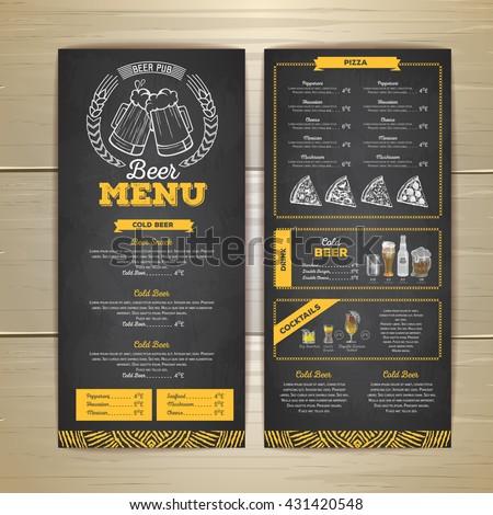 Vintage chalk drawing beer menu design.  - stock vector